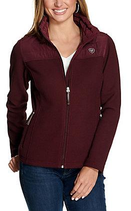 Ariat Women's Kalispell Burgundy Full Zip Sweater Jacket - Cavender's Exclusive