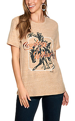 "Ariat Women's Brown ""Cowboys and Whiskey"" Embroidered Short Sleeve T-Shirt"