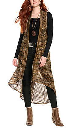 Ariat Women's Black and Brown Main Street Duster Vest