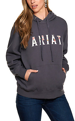 Ariat Women's R.E.A.L Grey with Floral Logo Hoodie