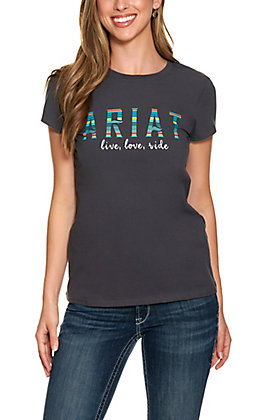 Ariat R.E.A.L Women's Grey Oasis Serape Logo Short Sleeve T-Shirt