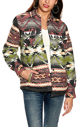 Ariat Women's REAL Shacket Multi-Colored Aztec Shirt Jacket - Cavender's Exclusive