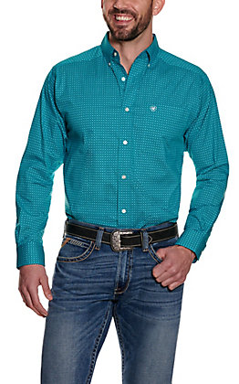 Ariat Men's Albarado Turquoise with Black and White Geo Print Long Sleeve Stretch Western Shirt - Cavender's Exclusive