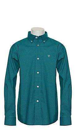 Ariat Boy's Albarado Turquoise with Black and White Geo Print Long Sleeve Stretch Western Shirt - Cavender's Exclusive