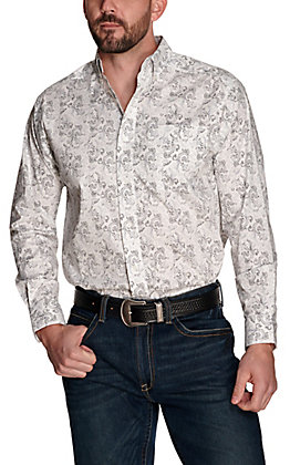 Ariat Men's Olex White with Black and Grey Paisley Print Stretch Long Sleeve Western Shirt