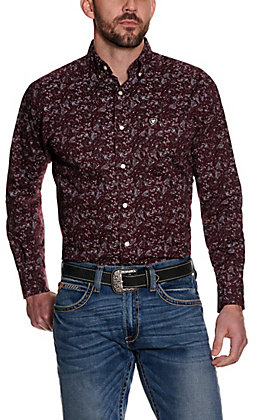 Ariat Men's Olex Maroon with White and Black Paisley Print Long Sleeve Stretch Western Shirt - Cavender's Exclusive