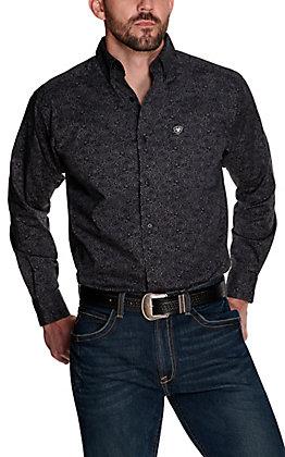 Ariat Men's Dalanzo Black and Grey Large Paisley Print Stretch Long Sleeve Western Shirt