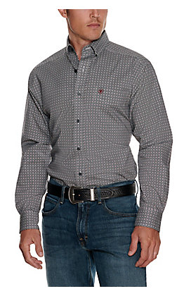 Ariat Men's Danson White with Black and Burgundy Geo Print Stretch Long Sleeve Western Shirt