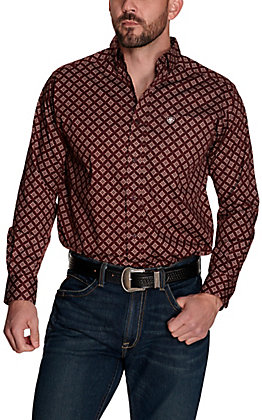 Ariat Men's Jerri Maroon with White Starburst Print Stretch Long Sleeve Western Shirt