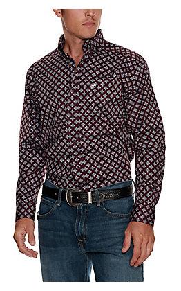 Ariat Men's Nel Burgundy with Grey Cross Print Stretch Long Sleeve Western Shirt