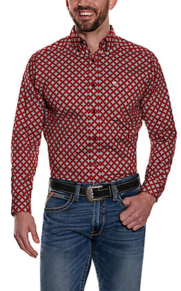 Ariat Men's Nel Red with White Medallion Print Long Sleeve Stretch Western Shirt - Cavender's Exclusive