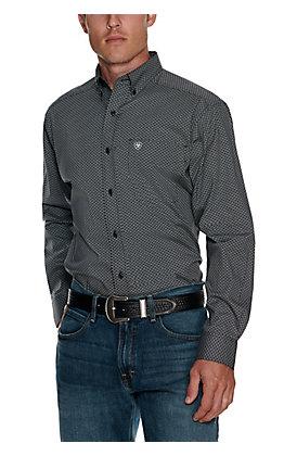 Ariat Men's Lucky Black with White Diamond Print Stretch Long Sleeve Western Shirt