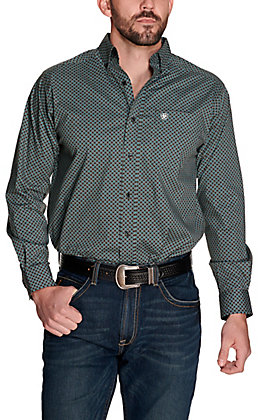 Ariat Men's Gaudry Black with Turquoise and White Diamond Print Stretch Long Sleeve Western Shirt