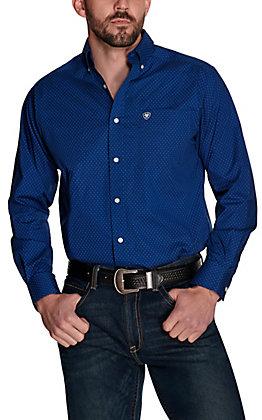 Ariat Men's Zellar Blue with Black Diamond Print Stretch Long Sleeve Western Shirt