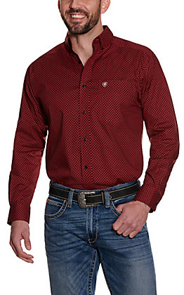 Ariat Men's Zellar Red with Black Diamond Print Long Sleeve Stretch Western Shirt - Cavender's Exclusive