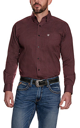 Ariat Men's Gaudry Burgundy with White and Black Geo Print Long Sleeve Stretch Western Shirt - Cavender's Exclusive