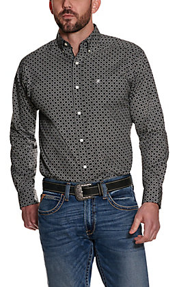 Ariat Men's Ripley Black with White and Grey Medallion Print Long Sleeve Stretch Western Shirt - Cavender's Exclusive