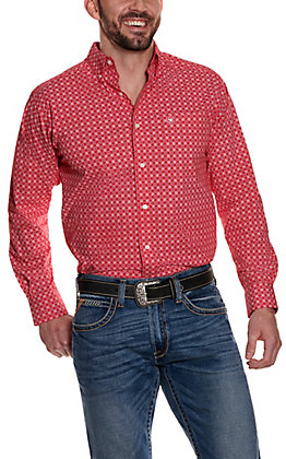 Ariat Men's Morrison Red with White and Blue Medallion Print Long Sleeve Stretch Western Shirt - Cavender's Exclusive