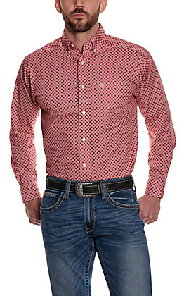 Ariat Men's Burton Red with Black and White Geo Print Long Sleeve Stretch Western Shirt - Cavender's Exclusive