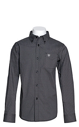 Ariat Boys' Lucky Black with White Diamond Print Long Sleeve Western Shirt - Cavender's Exclusive