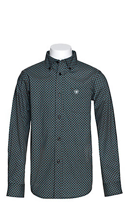 Ariat Boys' Gaudry Black with Turquoise and White Diamond Print Long Sleeve Western Shirt - Cavender's Exclusive