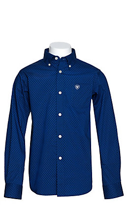 Ariat Boys' Zellar Blue with Black Diamond Print Long Sleeve Western Shirt - Cavender's Exclusive