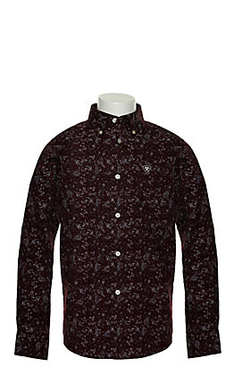 Ariat Boy's Olex Maroon with White and Black Paisley Print Long Sleeve Stretch Western Shirt - Cavender's Exclusive