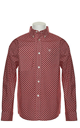 Ariat Boys' Burton Red with Black and White Geo Print Long Sleeve Stretch Western Shirt - Cavender's Exclusive