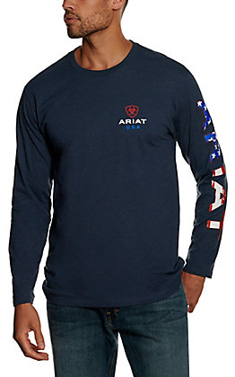 Ariat Men's Heather Blue Americana Graphic Long Sleeve T-shirt