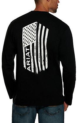 Ariat Men's Black with White Logo Flag Graphic Long Sleeve T-Shirt