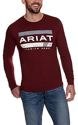 Ariat Men's Burgundy Logo Long Sleeve T-Shirt