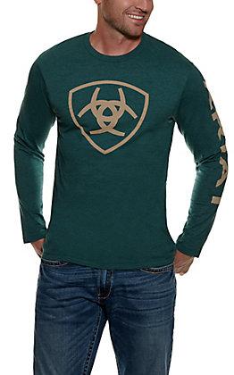 Ariat Men's Heather Teal Logo Long Sleeve T-Shirt