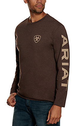 Ariat Mens Heather Brown Long Sleeve T-shirt