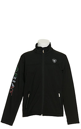 Ariat Youth Black with Mexico Flag Logo Team Softshell