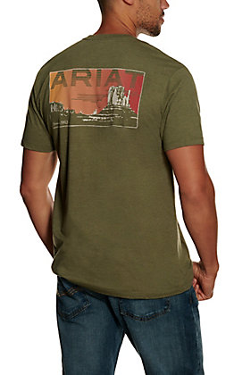 Ariat Men's Heather Green Untamable Sunset Graphic Short Sleeve T-shirt