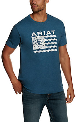 Ariat Men's Steel Blue Heather Old Glory Short Sleeve T-shirt