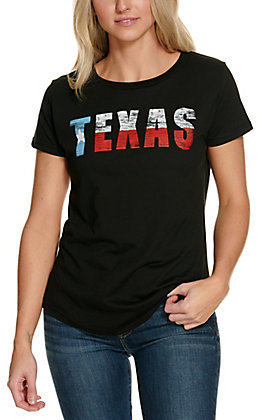 Rebellious One Women's Black with Texas Flag Short Sleeve Graphic Tee