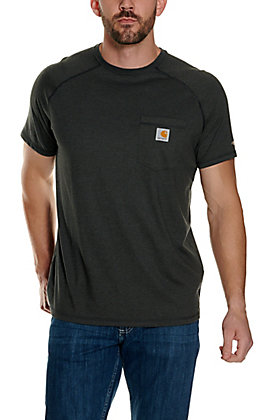 Carhartt Force Charcoal Grey Relaxed Fit Short Sleeve Work T-Shirt