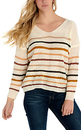Newbury Kustom Women's White with Rust Multi Stripes Long Sleeve Light Knit Sweater