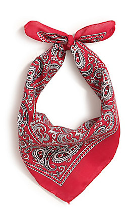 M&F Western Red with One Sided Print Bandana