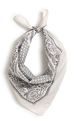 M&F Western White with One Sided Print Bandana