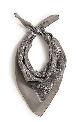 M&F Western Grey with One Sided Print Bandana