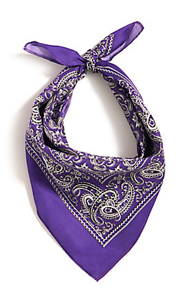 M&F Western Purple with One Sided Print Bandana