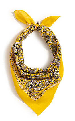 M&F Western Yellow with One Sided Print Bandana