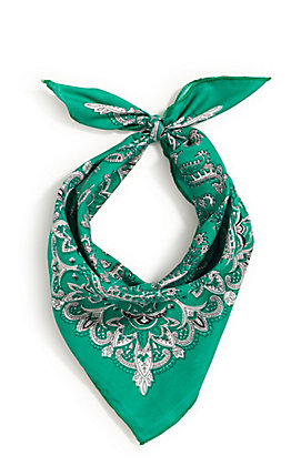 M&F Western Teal Green with One Sided Print Bandana