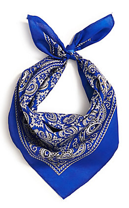 M&F Western Blue with One Sided Print Bandana