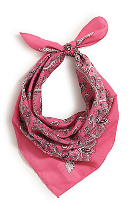 M&F Western Hot Pink with One Sided Print Bandana