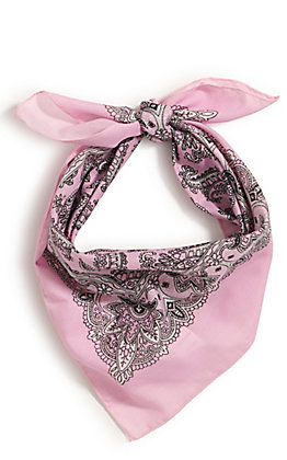 M&F Western Light Pink with One Sided Print Bandana