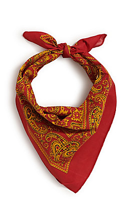 M&F Western Red with One Sided Yellow Print Bandana