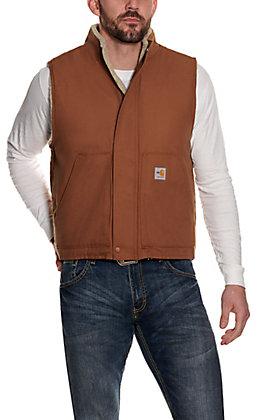 Carhartt Men's Brown Sherpa Lined Mock Neck FR Canvas Vest